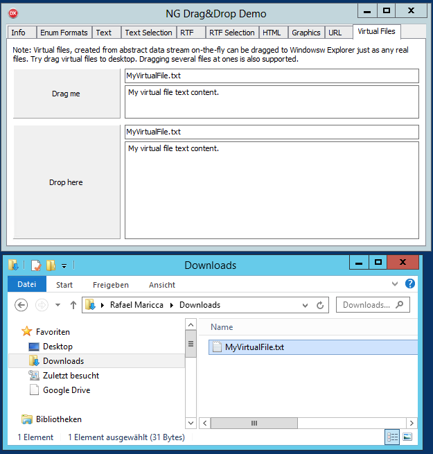 Interaction with Windows Explorer