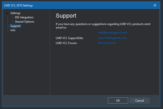 LMD VCL settings in dark theme